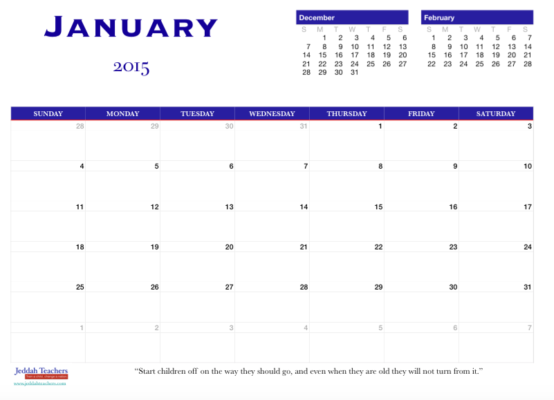 FREE BLUE 2015 Calendar for teachers