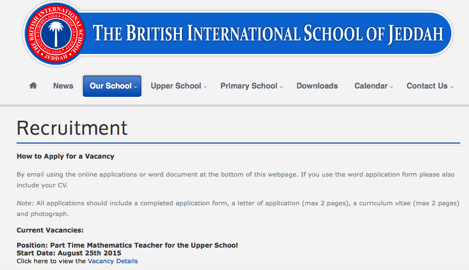 Current Vacancies: British International School in Jeddah