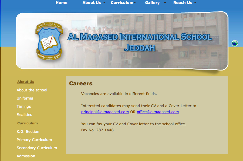 Vacancies: Al Maqased International School