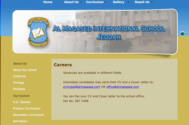 Vacancies: Al Maqased International School