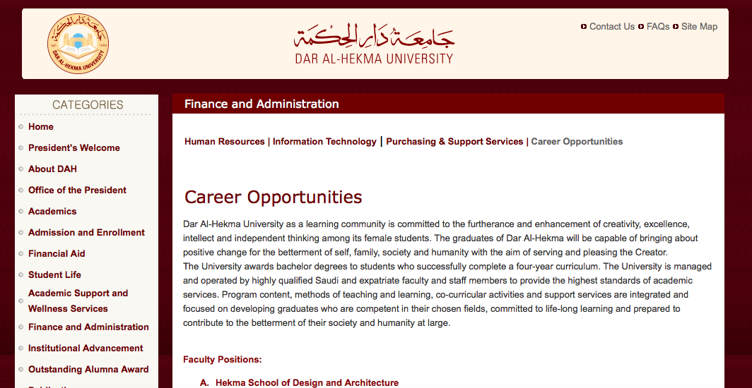 Dar Al-Hekma University-Job Opportunities