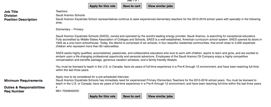 Saudi Aramco Expatriate School is looking for Elementary Teachers for SY 2015-2016