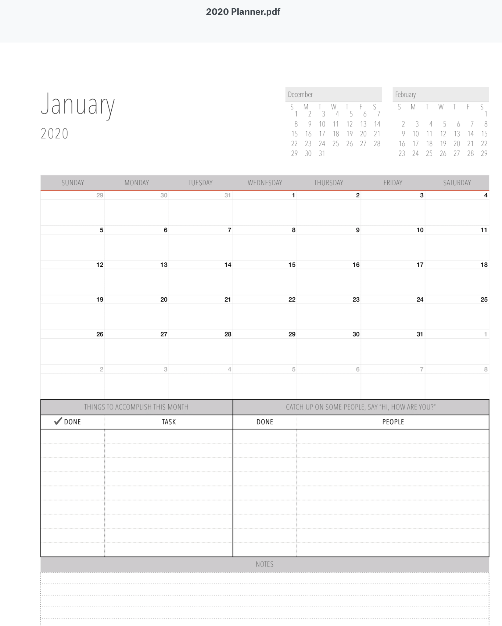 FREE DOWNLOAD| 2020 Printable Calendar for teachers